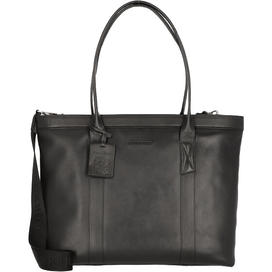 Burkely Suburb Seth Shopper Tasche Leder 45 cm Laptopfach black 1000086-75-10